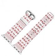 Iwatch Armband Leder,Apple Watch Band 42Mm Echtes Leder Rosa Weihnachten Geschenk Themes Rentiere Drucken