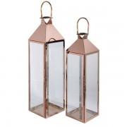 Maisons du monde 2 lanterne in vetro e metallo dorato HERITAGE