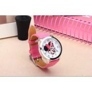 Mickey egér női/gyermek óra, sötét rózsaszín szíj