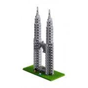 brixies 410147 - Petronas Towers, 3d de puzzle, World Famous Buildings Edition, 450 piezas, nivel de dificultad 4, muy pesado, multicolor