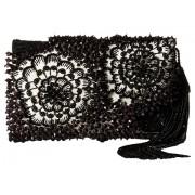 Oscar de la Renta Petite Evening Black Embroidered Satin