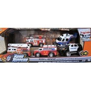 Road Rippers RUSH & RESCUE EMERGENCY VEHICLES Set w LIGHTS & SOUNDS & 5 Vehicles (FIRE TRUCK w LADDERS, Fire PUMPER TRUCK, AMBULANCE, HELICOPTER & POLICE SUV (2015) by Toy State Industrial Ltd