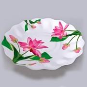 Farfurii albe cu flori fucsia 23 cm pentru petreceri, Radar GVI63040, Set 10 buc