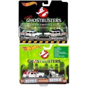 Ghostbusters Hot Wheels 4 Car Set Twin Pack EXCLUSIVE Ecto-1 Ecto-1A Ecto-2 Motorcyle Models