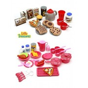 Little Treasures 2-in-1 Dishes Food Drinks Meal Time with Desert Set Kitchen Playset for kids Pretend Play Cooking and Serving Lunch Dinner or Snack Tea Time
