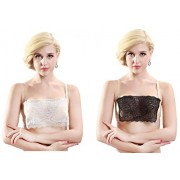 Flower Lace Cleavage Cover Clip On Camisole Set Of 2 White Black Ventilate