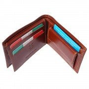 Florence Leather Market Portafoglio con portamonete da uomo in pelle lucida (PF019BV)