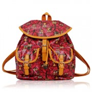 Batoh LS00270 - Coral Oilcloth Owl Design Rucksack