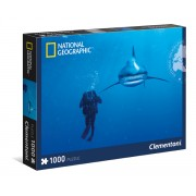 Puzzle 1000 Piese National Geographic - Whitetip Shark - Clementoni 39303