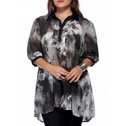 rosegal Plus Size Brief Ink Painting Buttoned Blouse