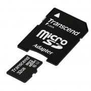 Micro SD Card, 32GB, Transcend MICRO, UHS-I Premium, 1xAdapter, Class10 (TS32GUSDU1)