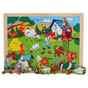 Skillofun Wooden Magnetic Twin Play Tray - Bright and Sunny Day, Multi Color