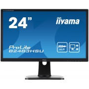iiyama ProLite B2483HSU-B1DP 24' LED LCD 1920x1080 250cd/m² 13cm Height adj 12M:1 ACR speakers VGA DVI DisplayPort USB-HUB 2ms speakers TCO6