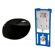 vidaXL Конзолна тоалетна чиния с казанче за вграждане, яйцевиден дизайн черна