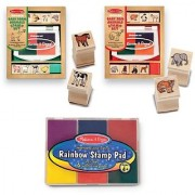 Melissa & Doug Baby Zoo & Farm Animals with 8 Wooden Stamps and 4 Color Stamp Pad Set