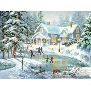 Nicky Boehme COTTAGES Puzzle, 500 sure-lox pieces, A Fine Winters Eve by tgctoys