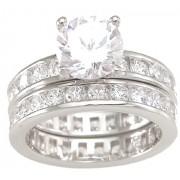 Cubic Zirconia CZ Engagement Wedding Ring Set