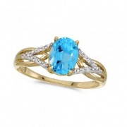 Oval Blue Topaz and Diamond Cocktail Ring 14K Yellow Gold (1.62tcw)