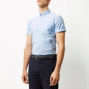 River Island Blauw casual slim-fit Oxford overhemd