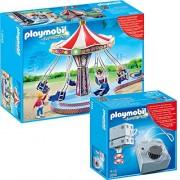 Playmobil 5548 Giostra volante con Luci Colorate + 5556 accionamiento elétrico para rides
