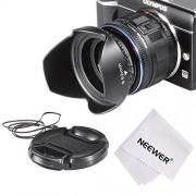 Neewer Paraluce Kit per Sony Alpha E PZ E-mount Power Zoom 16-50mm F3.5-5.6 OSS Lente Fondamentale: Paraluce a Forma di Tulipano + Copriobiettivo + Lente Obiettivo 40.5-52mm per Sony A5000, A5100, A6000, NEX-5T, NEX-6 Olympus Fotocamera Kit