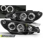 Přední světla, lampy Angel Eyes Peugeot 206 02- černé H1