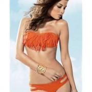 Fringe Bikini Strapless Oranje