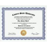 Camera Cameras Degree: Custom Gag Diploma Doctorate Certificate (Funny Customized Joke Gift - Novelty Item)