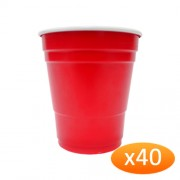 """American Red Plastic Party Cups - 285ml Minis (40 Pack)"""