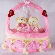 Beautiful Pink Decorated Heart Cake Plush Cushion with Love Couple Teddy Bears