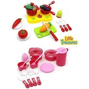 Little Treasures 2 sets in 1 Mini Cook & Serve Playset ideal for Kids 3+ fun and colorful kitchen set made up of stove b