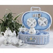 Delton Products Sweet William Design Porcelain Dollies Tea Set for Two in Basket
