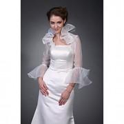 jaqueta de organza mangas compridas noivas envoltório de casamento / (wsm0404)