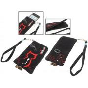 Animob A01-267BK hímzett plüss mobiltelefon tok 70 x 12 x 125mm - fekete