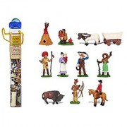 Safari Ltd Wild West TOOB - With 12 Hand Painted Toy Figurines - Includes Teepee Indians Texas Longhorn Bull Covered Wagon Buffalo Cowboy Chief Annie Oakley And More - For Ages 3 And Up