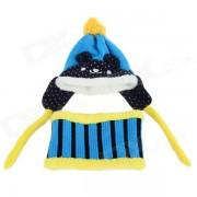 Children's Panda Style Super Soft Autumn / Winter Wear Cap + Scarf Set - Blue