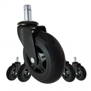 """Office Chair Caster Wheels Replacement Set of 5 - Black 3"""" HARDWOOD FLOOR Chair Wheels - No Chair Mat Needed - Roller Blade Style HEAVY DUTY Desk Chair Casters With Soft Rubber Wheels, Smooth & Silent"""
