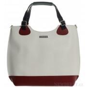 Bílo-červená elegantní shopper kabelka S581 GROSSO