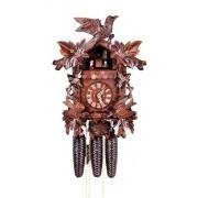 "ISDD Cuckoo Clock - Reloj cucú, diseño ""6 follajes, pajáro que se balancea, nido"""