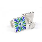 Mousie Bean Enamelled Cufflinks Liberty Flower 111 Tonal Blue
