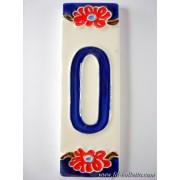 Numero civico ceramica con fiore nf10
