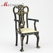 dollhouse 1/12 scale miniature furniture Dining black Hand painted Landscape painting Arm chair