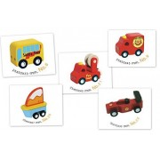 Santoys Solid Wood Toy Awesome Wooden Vehicles Set #1 Fire Truck, Ambulance, Boat, Car, Tour Bus
