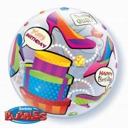 "Balon Bubble 22""/56cm Qualatex, Birthday Girl Shopping, 27563"