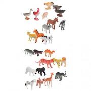 Segolike 24Pcs 4-7cm PVC Wildlife Farm Yard Animals Model Figures Pig Cow Lion Tiger Deer Camel Bear Hippo Sheep Orangutan and Leopard Toys