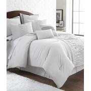 8 Piece Embroidered Off White Comforter Set (Queen)