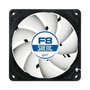 ARCTIC F8 Silent, Ventola da 80 millimetri a 3 pin con involucro standard e flusso d'aria superiore, ventilazione silenziosa ed efficiente