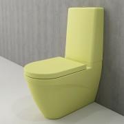 Toiletpot Set Staand Carino 68x36x92cm Keramiek Diepspoel Nano Coating EasyClean Rimfree Mat Limon met Toiletbril