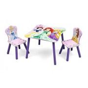 Delta Children Principesse Set Tavolo e 2 Sedie in Legno, Legno, Multicolore, 60 x 60 x 44 cm