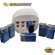 Exell LED 4 Bay 9V Li-Ion Battery Charger w/ 6 Exell 9V Li-Ion 500mA
